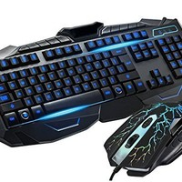 BlueFinger Three Color Adjustable Luminous with Purple Red Blue Gaming Wired Keyboard and Mouse Combo Set Black + Bluefinger Customed Gaming Mouse Pad