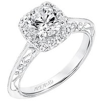 """Artcarved """"Audriana"""" Halo Diamond Engagement Ring Featuring Knife Edge Shank"""