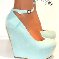 LADIES SUEDE HIGH WEDGE HEELS PLATFORM SHOES SANDAL ANKLE STRAPPY SIZE PROM
