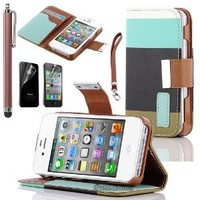 Pandamimi ULAK(TM) Colorful PU Leather Wallet Type Magnet Design Flip Case Cover for Apple iPhone 4 4G 4S with Screen Protector and Stylus (Blue+Black+Green)