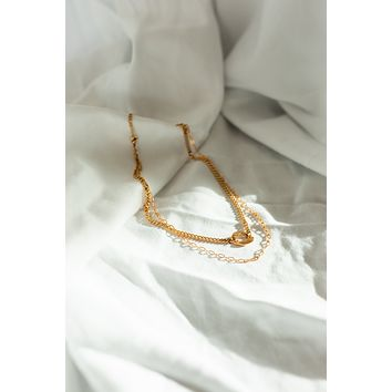 18K Link Charm Layer Necklace