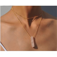 4 colors natural stone quartz choker necklace