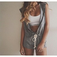 Fashion Sportycute Front Zipper Hoodie Romper - Grey/Black