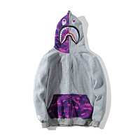BAPE autumn new mouth teeth personality men and women couples hooded casual sweater F-A-KSFZ Gray