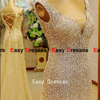 Sequines beads dress v-neck dress lace -up dress Prom dress Bridesmaid dress Fashion dress Party Evening Dresses 2014