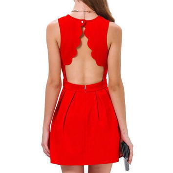 Free Shipping Womens Summer Casual Evening Mini Dress Red Sleeveless Sexy Tropical Slim Novelty Backless Short Party Dress