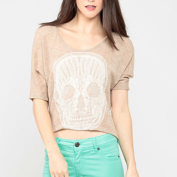 Embroidered Skull Knitted Top