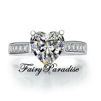 2 Ct Heart Cut man made Diamond Solitaire Engagement Wedding Promise Ring Anniversary Bridal rings with gift box - mother gift