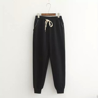 Plain Drawstring Waist Sweatpants