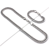 """Mens 24"""" Stainless Steel Silver Gold 10mm Cuban Link Chain Necklace Bracelet Set"""