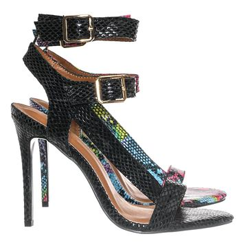 Zone2 Asymmetrical Strappy Stilettoed Sandals - Double Buckle Dress Shoes
