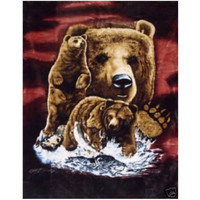 """Royal Plush Extra Heavy Queen Size Mink Blanket -Brown Bears on the Hunt (79"""" x 85"""")"""