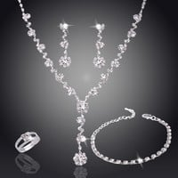 Silver Tone Crystal Tennis african jewelry sets Earrings wedding jewelry necklace bridesmaid jewelry sets for women necklace