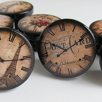 Clock Knobs, Romantic Paris Knobs, Antique Clock Drawer Knobs, Eiffel Tower, Book Page, Roses, Key, - Wood Knobs- 1 1/2 Inches - Set of 8