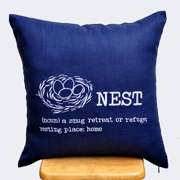 Nest Throw Pillow Cover, White Nest Embroidered Pillow, Navy Blue Accent Pillow, Decorative Pillow for Couch, Pillow Case 18 x18