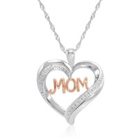 I Love You Mom in Heart Diamond Pendant-Necklace in Sterling Silver
