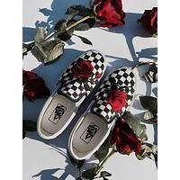 vans slip on checkerboard custom red rose sneaker