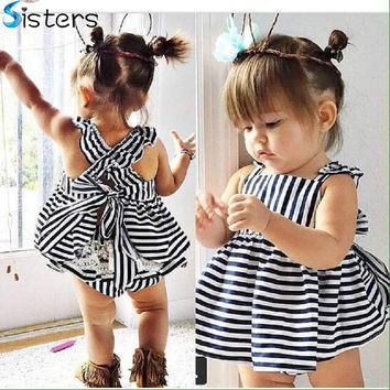 2016 Summer Vestidos Baby Girl Dresses Princess Children Dress Stripe Baby Clothing Kids Girl Dress Brand Girls Clothes Costumes