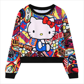 Black Hello Kitty Print Loose Sweatshirt