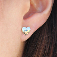 Heart Studs with Turquoise