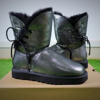 Best Online Sale UGG Waterproof Antifouling Fabric Butterfly Lace Silver Black Snow Boots