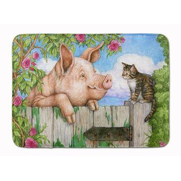 Pig at the Gate with the Cat Machine Washable Memory Foam Mat CDCO0349RUG