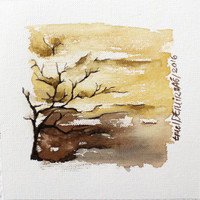 Smail Watercolor landscape painting , Abstract watercolor , Original watercolor art , contemporary art , minimalist art ,