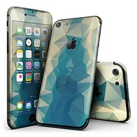 Abstract Aqua and Gold Geometric Shapes - 4-Piece Skin Kit for the iPhone 7 or 7 Plus