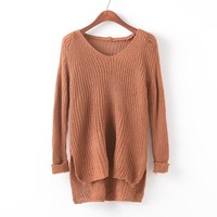 Knit Tops V-neck Hollow Out Pullover Irregular Sweater [9101519623]