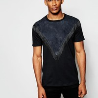 Reclaimed Vintage | Reclaimed Vintage T-Shirt With Suedette Panel And Fringing at ASOS