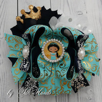 READY TO SHIP Jasmin hair bow - Princess  Birthday - Over the Top Bow -Princess party - Girls Hair Bows