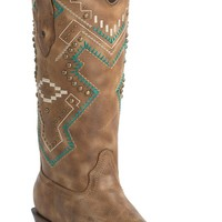 Corral Women's Vintage Honey with Turquoise Aztec Embroidery & Studs Snip Toe Western Boots