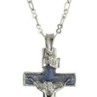 The Vatican Library Collection Silver and Blue Crucifix Necklace