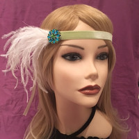1920's Velvet Celery Light Green Flapper Downton Abbey Ostrich Feather Headband Blue Green Crystal Rhinestone White Feather Art Deco (659)
