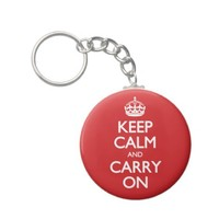 Keep Calm And Carry On Red Pattern Keychain from Zazzle.com