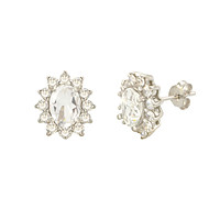 White Topaz Gemstone Flower Stud Earrings Sterling Silver Micropave CZ Accent