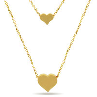 Two Gold Hearts Necklace, 14K Gold Plated Tiny Hearts Necklace, Dainty Heart Necklace