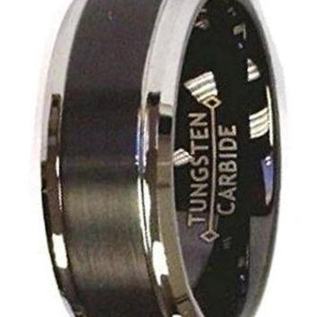 CERTIFIED 8Mm Black Brush Center Polish Stepped Edge Tungsten Carbide Wedding Band