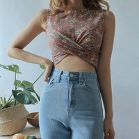 Gathered Front Floral Crop Top