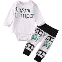 2pcs Newborn Infant Kids Baby Boy Girl Clothes Long Sleeve White Cotton Letter Romper Winter+Long Print Pants Baby Clothing Set
