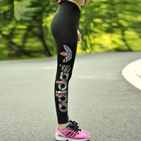 """""""Adidas"""" Women Multicolor Clover Letter Print Casual Tights Stretch Long Pants Sweatpants"""
