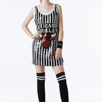 Women Sport Casual Fashion Letter Sequin Multicolor Stripe Short Sleeve Mini Dress