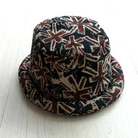 UK British flag Hat, Hipster Bucket Hat for Men Women, Trendy Pork Pie Trilby hat, Unisex Hippie Boho hat, Summer Festival Hat, Gift Ideas