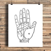 Palm Fortune Chart, Gypsy, Free Spirit, Wonderlust, College Dorm Room, Indie, Hipster, Tattoo Design, Giclee Art Print