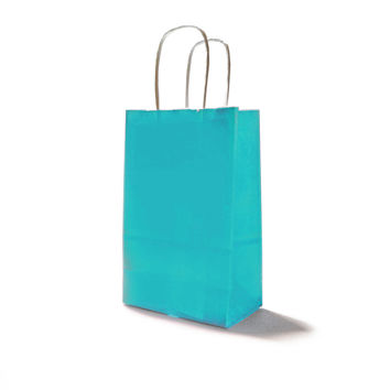 Baby Blue Paper Party Bags with Handles and White Gift Tags