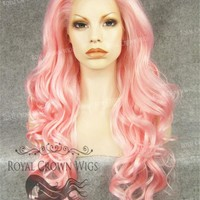"""26 inch Heat Safe Synthetic Lace Front in Curly Texture """"Calypso"""" in Pink"""