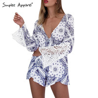 Simplee Apparel Blue porcelain print lace elegant jumpsuit romper Summer style backless sexy playsuit Women long sleeve overalls