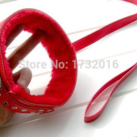 Red Plush Neck Bondage Restraints Sex Collar And Leash , Sex Games For Adults , Sexe Sex Toy