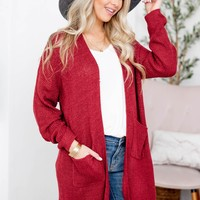 Light Weight Knit Pocket Cardigan | Red