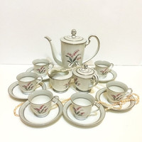 ON SALE Noritake Demitasse Set, Coffee Pot, Creamer and Sugar, Six Cups and Saucers, Pink Lily of the Valley, Pattern No. 5518, 1953-55